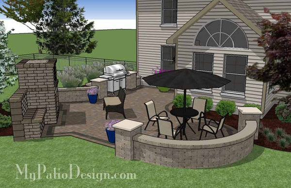 430 sq. ft. - L Shaped Patio Design with Grill Station and ... on L Shaped Backyard Ideas id=37060
