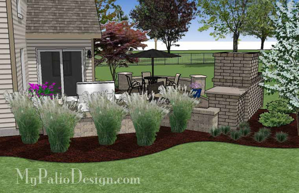 L Shaped Patio Design With Grill Station And Fireplace