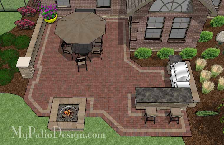 Large Brick Patio Design with Grill Station-Bar and Fire Pit 2