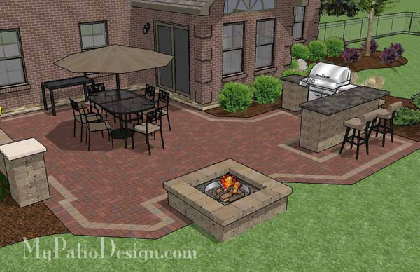 Large Brick Patio Design With Grill Station Bar