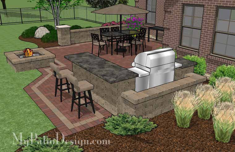 large brick patio design with grill station-bar | downloadable ... - Brick Patio Designs With Fire Pit