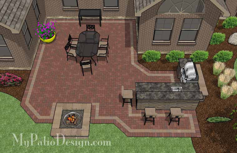 Large Courtyard Brick Patio Design With Outdoor Kitchen And Fire Pit   505  Sq. Ft.