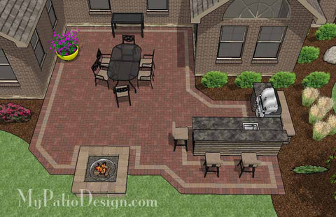Large Courtyard Brick Patio Design with Outdoor Kitchen and Fire Pit 2