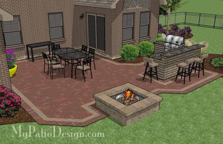 ... Large Courtyard Brick Patio Design With Outdoor Kitchen And Fire Pit 3  ...