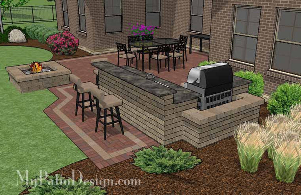 Large courtyard brick patio design with outdoor kitchen for Outdoor kitchen brick design