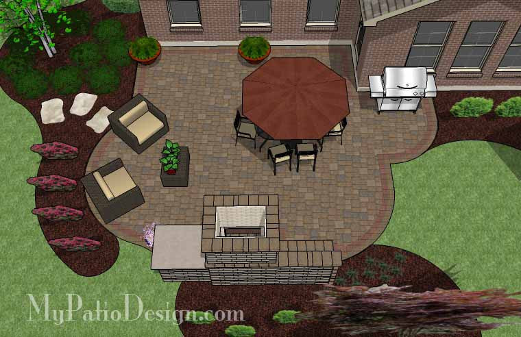 large cozy patio design with fireplace   downloadable plan ... - My Patio Design