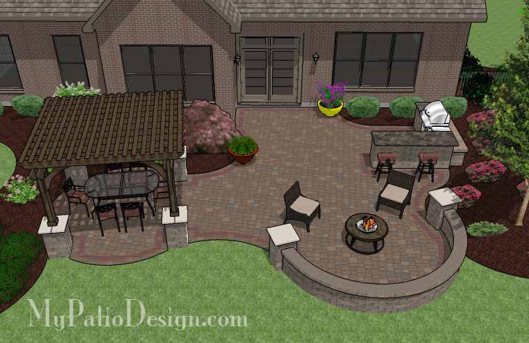 Large Curvy Patio Design With Grill Station, Pergola And Seat Wall