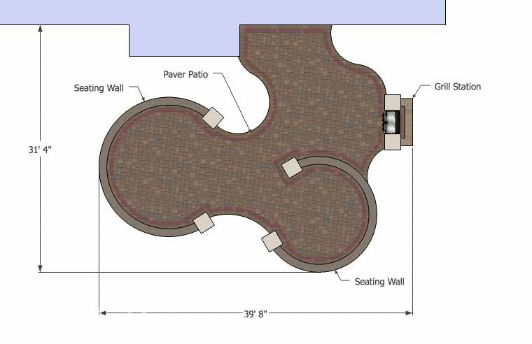 Large Curvy Patio Design with Grill Station Seat Walls