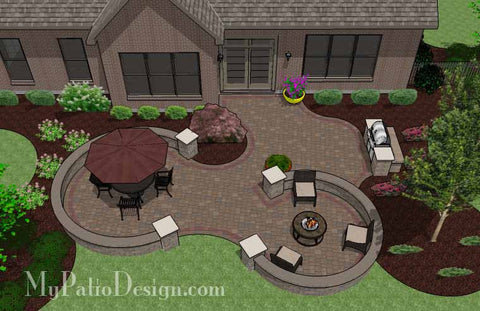 Large Curvy Patio Design with Grill Station and Seat Wall 2