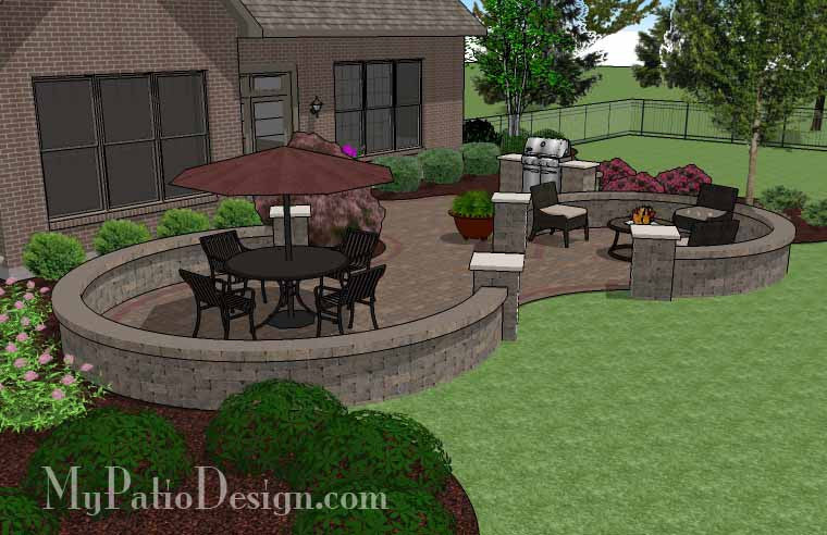 ... Large Curvy Patio Design With Grill Station And Seat Wall 3 ...
