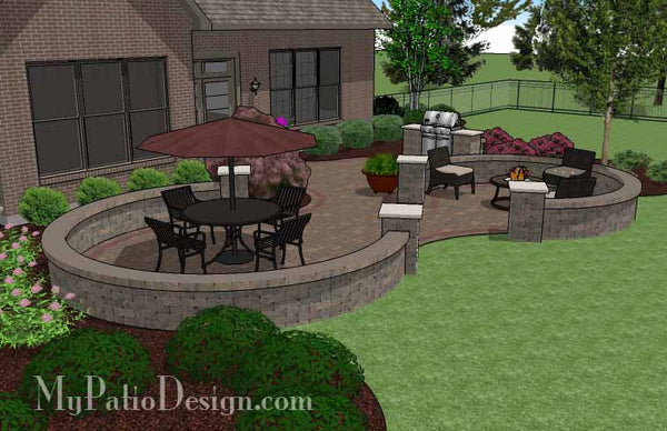 Large Curvy Patio Design With Grill Station Amp Seat Walls