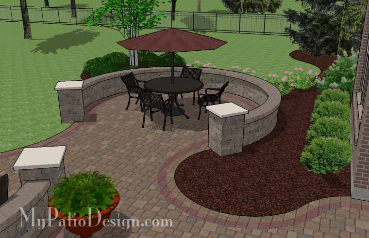 ... Large Curvy Patio Design With Grill Station And Seat Wall 7 ...