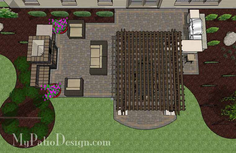 Large Outdoor Living Design with Pergola and Fireplace 2