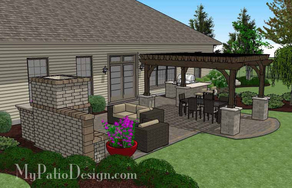 The Large Outdoor Living Design with Pergola and Fireplace brings all your favorite luxuries into a patio you will love to use. Download layouts & material list.