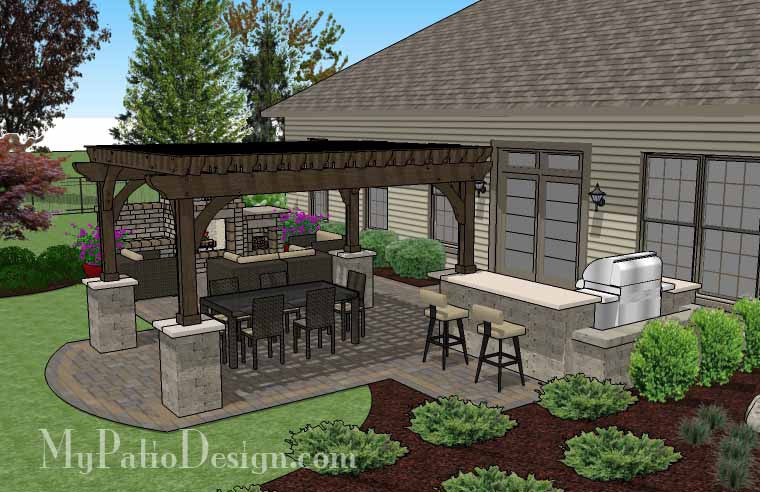 ... Large Outdoor Living Design with Pergola and Fireplace 4 ... - Large Outdoor Living Design With Pergola And Fireplace