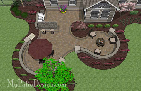Large Paver Patio Design with Grill Station and Seat Walls 2