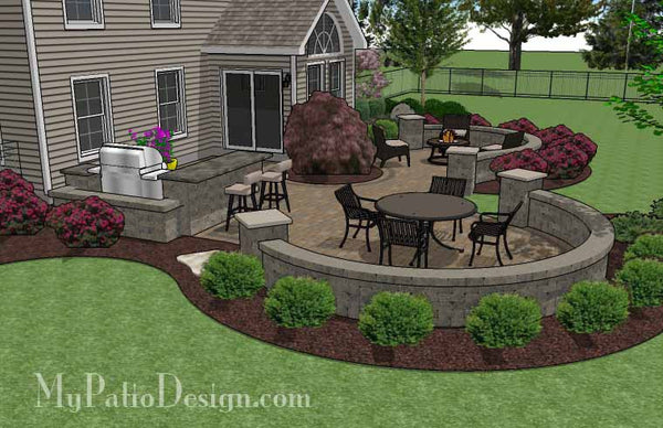 large paver patio design with grill station seat walls download