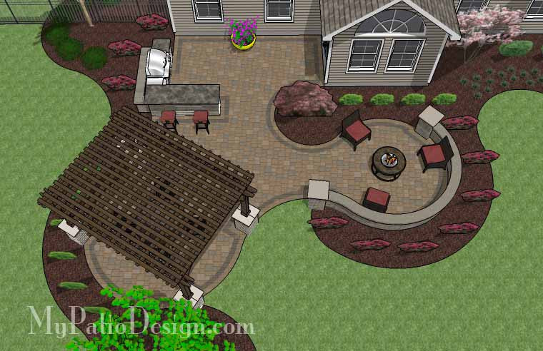 Large paver patio design with pergola and grill station for Large patio design ideas