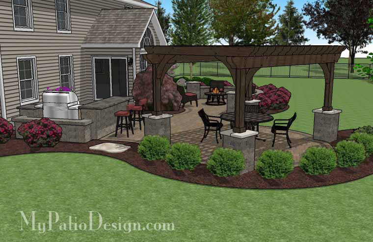 paver patio with pergola. Large Paver Patio Design With Pergola And Grill Station + Bar 3 C