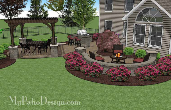 large paver patio design with pergola and grill station