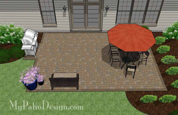 Large Rectangular Paver Patio Design Download Plan