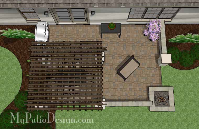 Large Rectangular Paver Patio Design with Fire Pit and Pergola 2