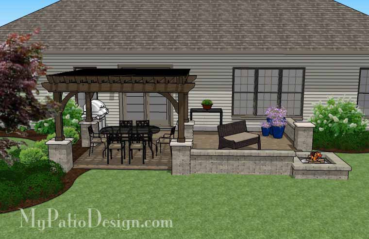 Large rectangular paver patio design with fire pit for Large patio design ideas