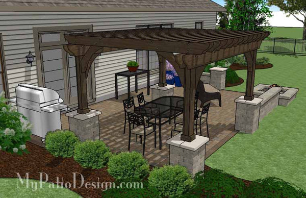 Large Rectangular Paver Patio Design with Fire Pit ... on Rectangle Patio Ideas id=96702