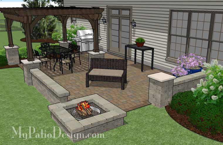 Large Rectangular Paver Patio Design with Fire Pit & Pergola ...