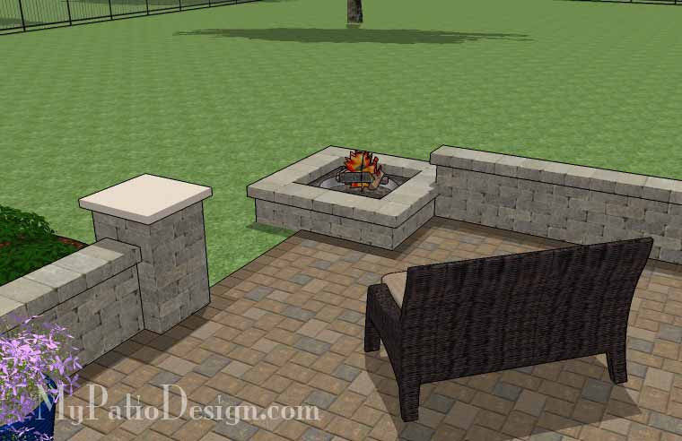 Large Rectangular Paver Patio Design with Fire Pit ... on Rectangular Patio Design id=25106
