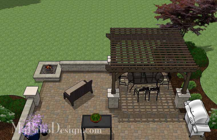 Large Rectangular Paver Patio Design with Fire Pit ... on Rectangular Patio Design id=76147