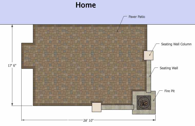 Large Rectangular Paver Patio Design with Fire Pit ... on Rectangular Patio Design id=92471
