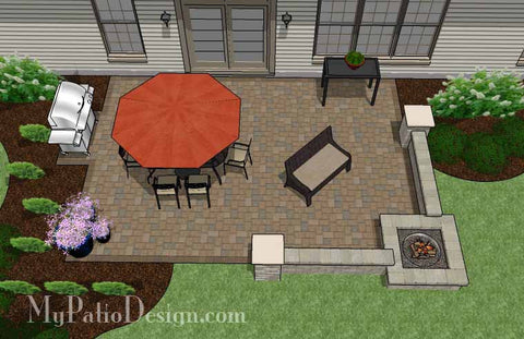 Large Rectangular Paver Patio Design with Seating Wall and Fire Pit 2