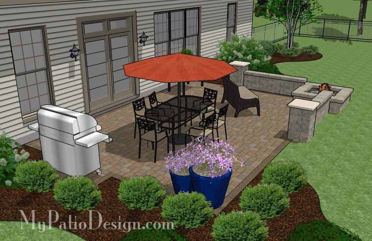 High Quality ... Large Rectangular Paver Patio Design With Seating Wall And Fire Pit 3  ...