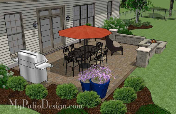 Large Rectangular Paver Patio Design with Fire Pit ... on Rectangular Patio Design id=13280