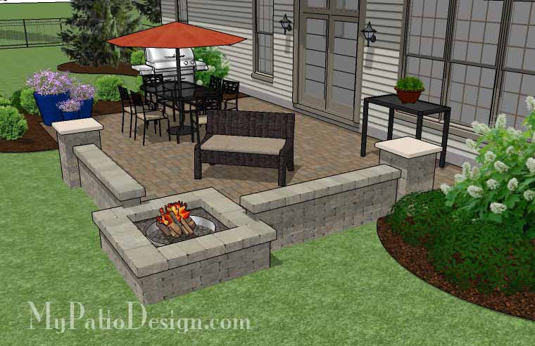 ... Large Rectangular Paver Patio Design With Seating Wall And Fire Pit 4  ...