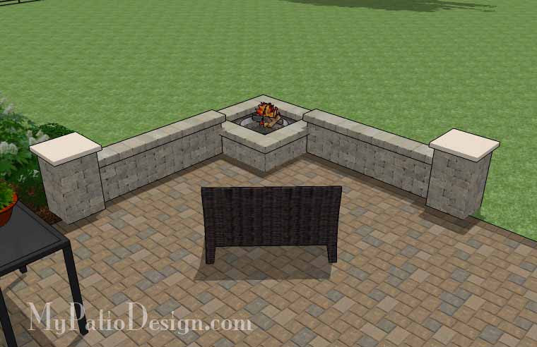 Large Rectangular Paver Patio Design With Fire Pit