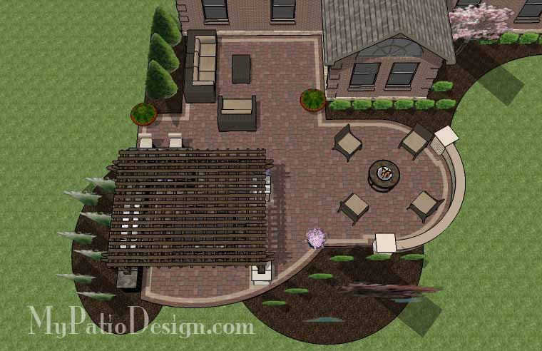 Outdoor Entertainment Patio Design with Pergola and Bar - 855 sq ...