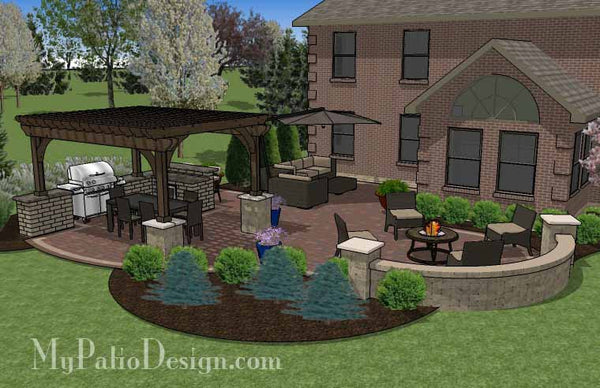 Outdoor Entertainment Patio Design With Pergola And Bar