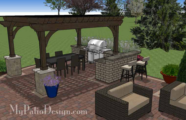 Outdoor Entertainment Patio Design With Pergola And Bar 5