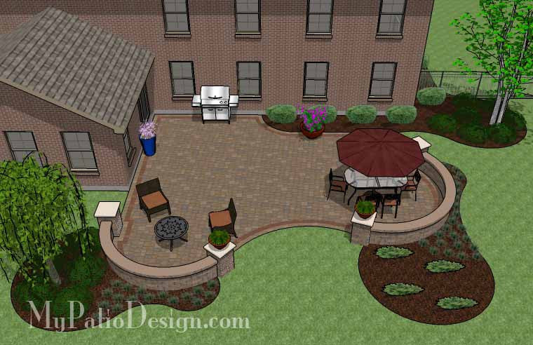 Outdoor Living Design with Seating Wall 2