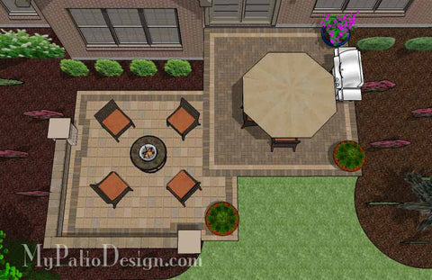 Overlapping Rectangle Patio Design with Seat Wall 2