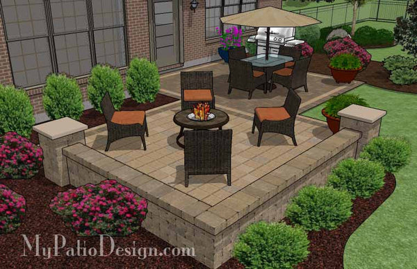 Overlapping rectangle patio design with seat wall 490 sq for Latest patio designs