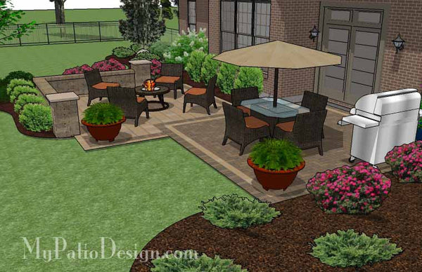 490 sq. ft. - Overlapping Rectangle Patio Design with Seat ... on Rectangular Patio Design id=79593
