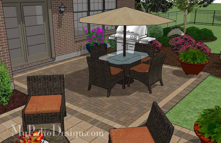 490 sq. ft. - Overlapping Rectangle Patio Design with Seat ... on Rectangle Patio Ideas id=62520