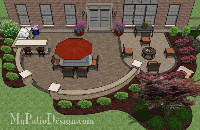 Patio design for entertaining with grill station bar 900 for Patio layouts and designs