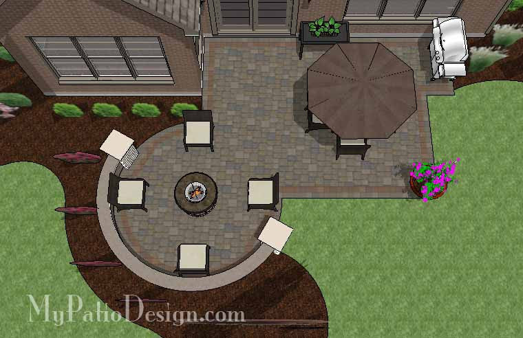 Patio Design with Portable Fire Pit and Seat Wall 1