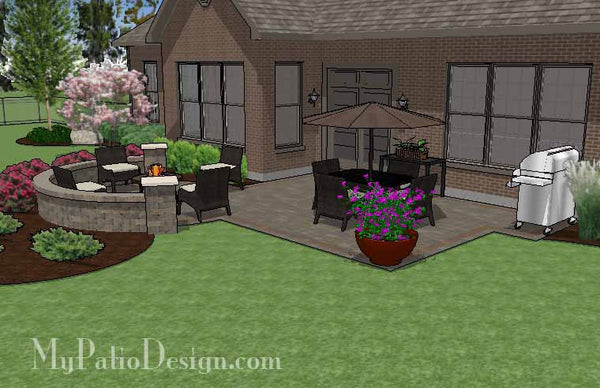 Patio Design With Portable Fire Pit And Seat Wall