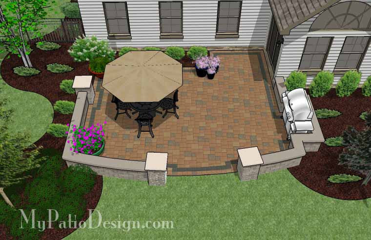 Private Backyard Patio Design with Seat Wall 2