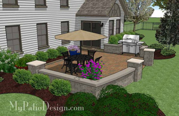 415 sq. ft. - Private Backyard Patio Design with Seat Wall ... on Backyard Wall Design id=56003